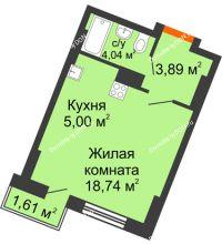 Студия 26,65 м² в ЖК Мечников, дом ул. Мечникова, 37 - планировка