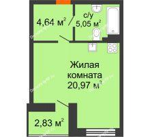 Студия 32,08 м² в ЖК Ютта, дом ГП-2 - планировка