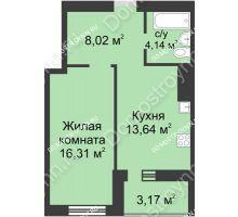 1 комнатная квартира 45,28 м² - ЖК Буревестник