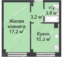 1 комнатная квартира 34,5 м² в ЖК Зенит, дом д. 7 - планировка