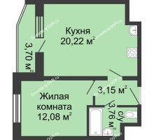 1 комнатная квартира 41,06 м² в ЖК Французский квартал, дом Корпус 6-11