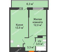 1 комнатная квартира 37,2 м², ЖК Акварели-3 - планировка