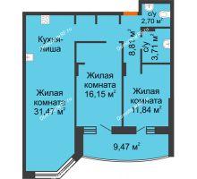 3 комнатная квартира 79,1 м² в ЖК Золотое сечение, дом №1, 2 этап - планировка
