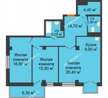 3 комнатная квартира 92,6 м² в ЖК Взлетная 7, дом 1-2 корпус - планировка