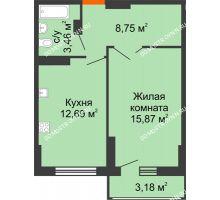 1 комнатная квартира 42,36 м², ЖК Орбита - планировка