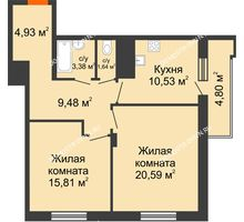 2 комнатная квартира 68,76 м² в ЖК Циолковский, дом № 5 - планировка