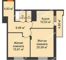 2 комнатная квартира 68,76 м² в ЖК Циолковский, дом № 6 - планировка
