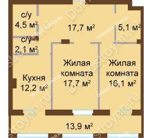 2 комнатная квартира 83,26 м², ЖК Классика - Модерн - планировка
