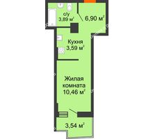 Студия 25,77 м² в ЖК Сердце Ростова 2, дом Литер 8 - планировка