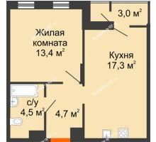 1 комнатная квартира 39,9 м², Жилой дом Фамилия - планировка