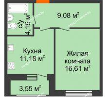 1 комнатная квартира 44,57 м² в ЖК Подкова на Гагарина, дом № 2 - планировка
