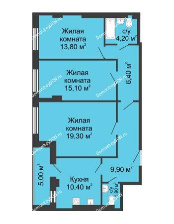 3 комнатная квартира 83,9 м² - ЖК Дом на Береговой