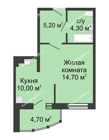 1 комнатная квартира 38,9 м² в ЖК Мега, дом № 2