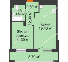 1 комнатная квартира 44,65 м² в ЖК Корица, дом № 1 - планировка