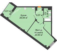 1 комнатная квартира 66,06 м² в ЖК Чернавский, дом 2 этап