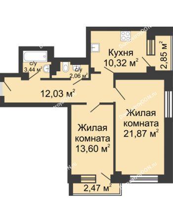 2 комнатная квартира 68,64 м² - ЖК Юбилейный