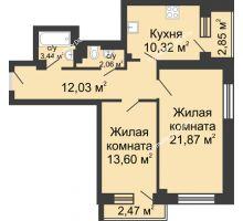 2 комнатная квартира 68,64 м², ЖК Юбилейный - планировка