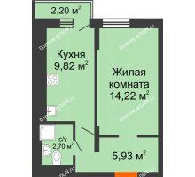 1 комнатная квартира 32,67 м² в ЖК Мечников, дом ул. Таврическая, 4 - планировка