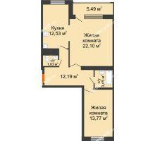 2 комнатная квартира 70,82 м², ЖК Новая Тверская - планировка