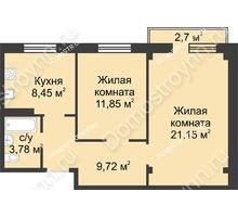 2 комнатная квартира 55,76 м² в ЖК Тридесятое, дом № 23 - планировка