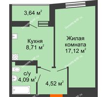 1 комнатная квартира 36,26 м², ЖК Сограт - планировка