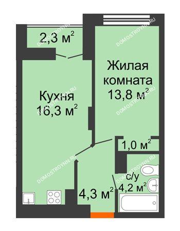 1 комнатная квартира 40,75 м² в ЖК Заречье, дом № 1, секция 1