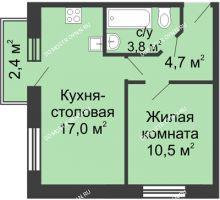 1 комнатная квартира 36,7 м² в ЖК Окский берег, дом №1, Индустриальная улица