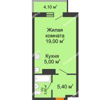Студия 34,43 м² в ЖК Сокол на Оганова, дом Литер 5 - планировка