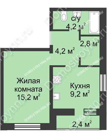 1 комнатная квартира 38 м² - ЖК Дом на Иванова