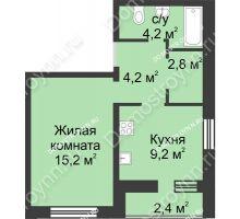 1 комнатная квартира 38 м², ЖК Дом на Иванова - планировка
