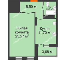 1 комнатная квартира 48,8 м², ЖК Командор - планировка